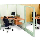Estação de trabalho formato em L em biombo cego e vidro