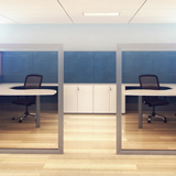 Estação de trabalho formato peninsular em sala de Biombos