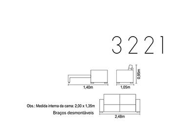 Sofá-cama para escritório e ambientes 3221 medidas