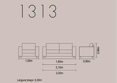 Sofá fixo para escritório e ambientes 1313 medidas