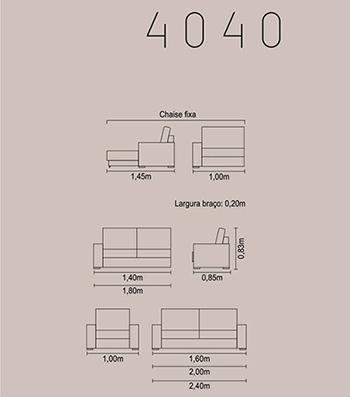 Sofá fixo para escritório e ambientes 4040 medidas