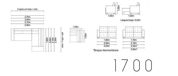 Sofá retrátil para escritório e ambientes 1700 medidas