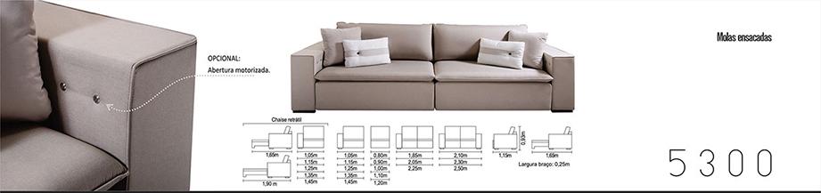 Sofá Retrátil para escritório e ambientes 5300 medidas